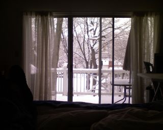Snow on deck from bed 120708