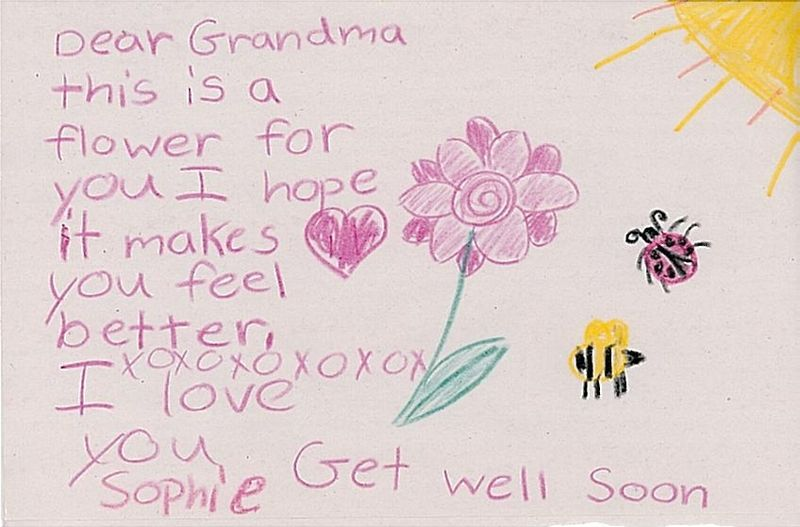 Sophie to grandma bogner get well card 3-3-09